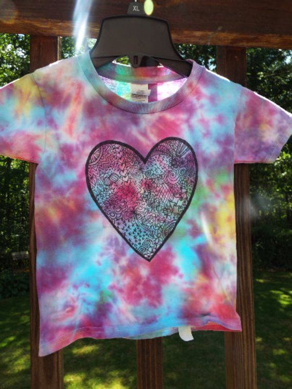 41c88a131bc90 Toddler Heart Shirt, Custom Tie Dye Shirt for toddlers w Doodle ...