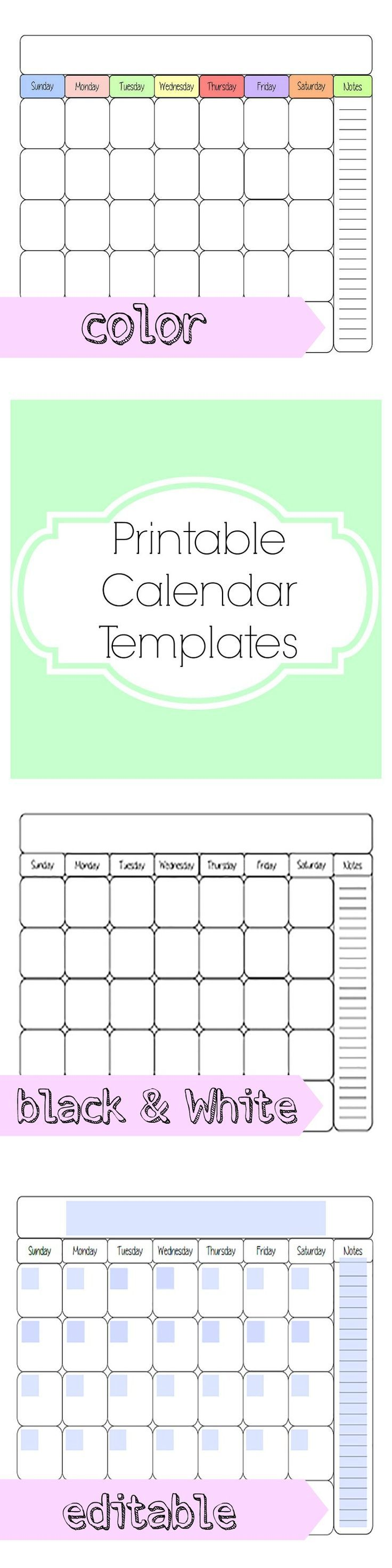 Free Printable Calendar Template  Planners Organizations And