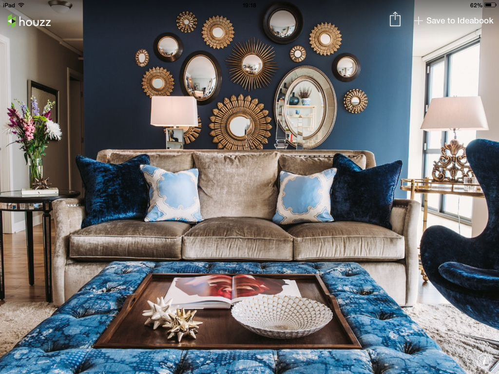 Eclectic Blue Living Room With Velvet Sofa