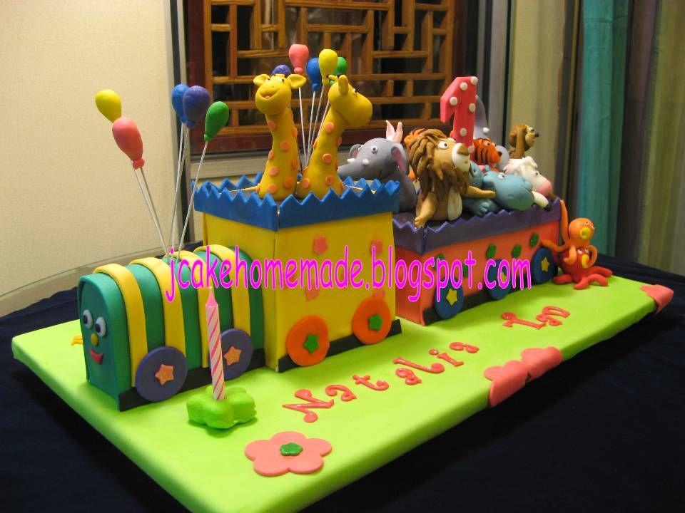 train 1st birthday Jcakehomemade Animals train birthday cake D