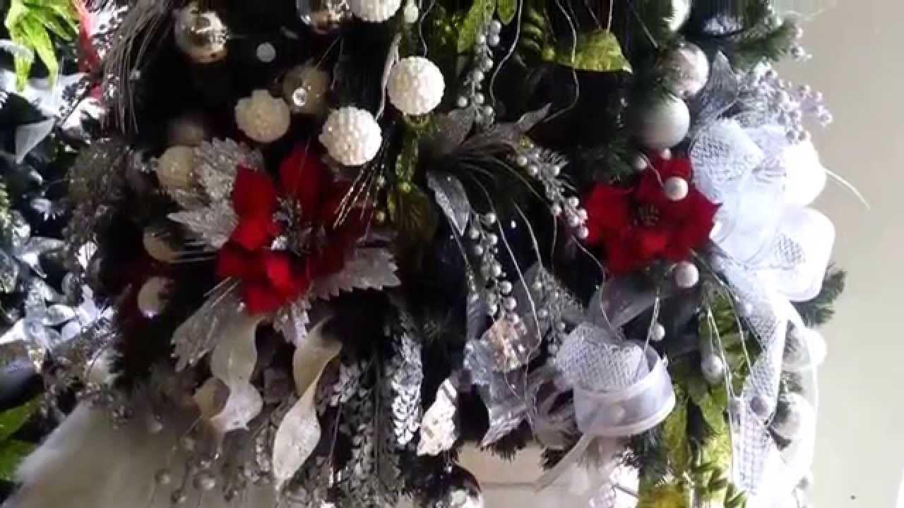 decoracion arboles de navidad plateados rojo christmas tree decorat
