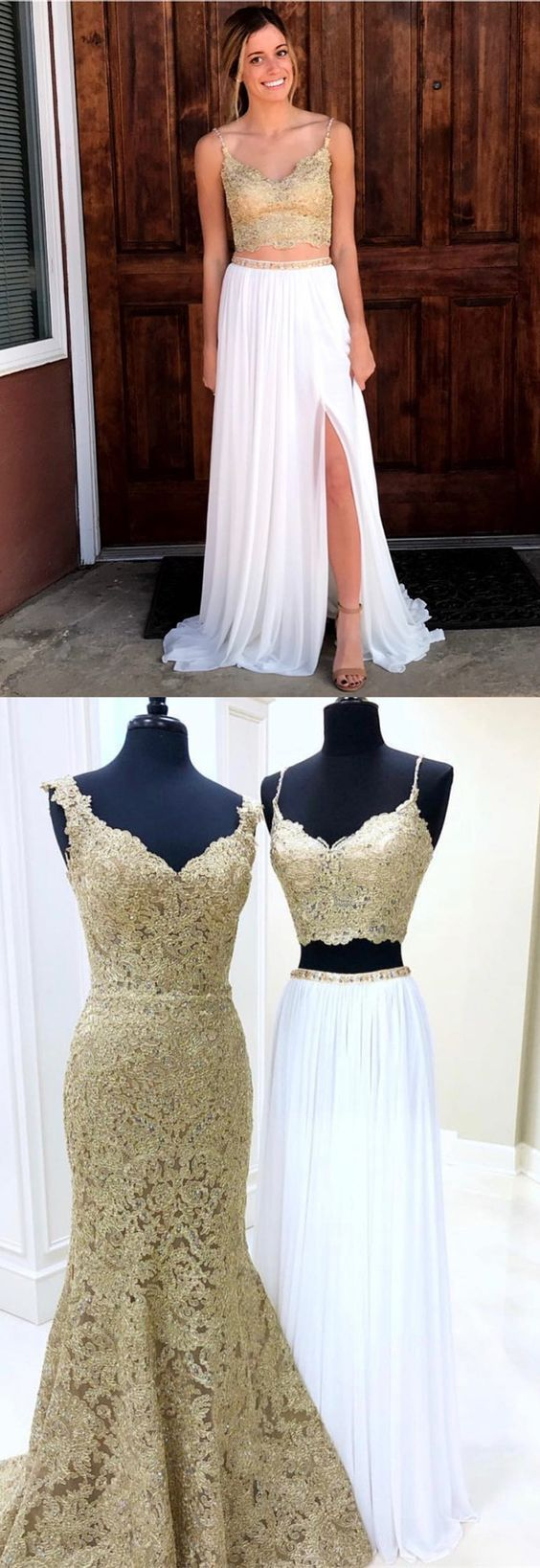 Gorgeous two piece gold and white long prom dress prom dress