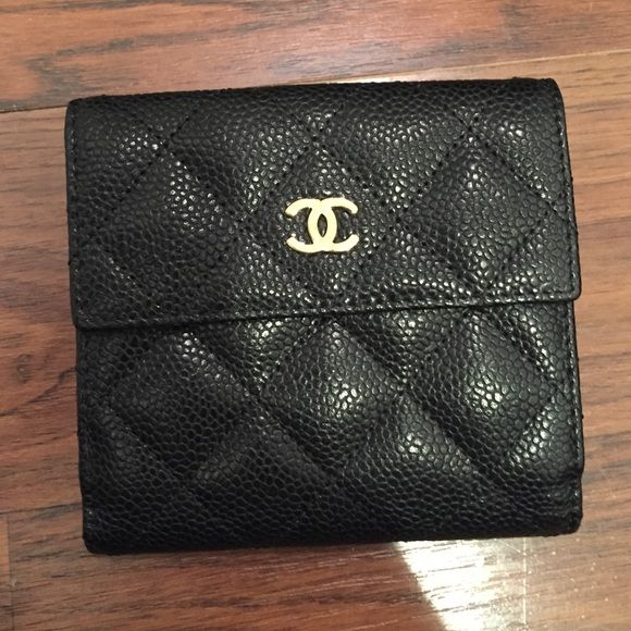 31534ea82db Chanel Small S-Double Wallet in Black Caviar 100% authentic Chanel Small S-Double  Wallet in Black Caviar Leather with Gold Hardware. Only used a few times.