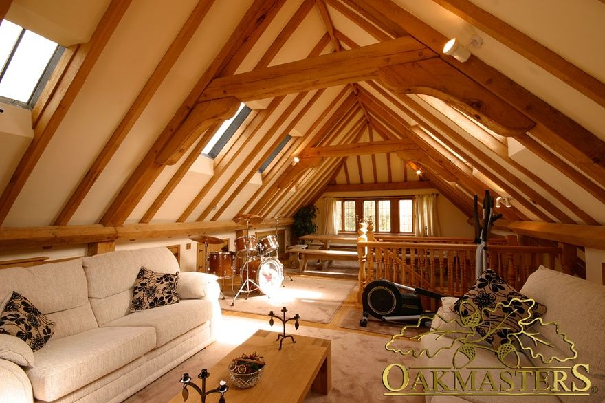 Internal view of a loft space above a 3 bay oak framed for 2 bay garage with loft