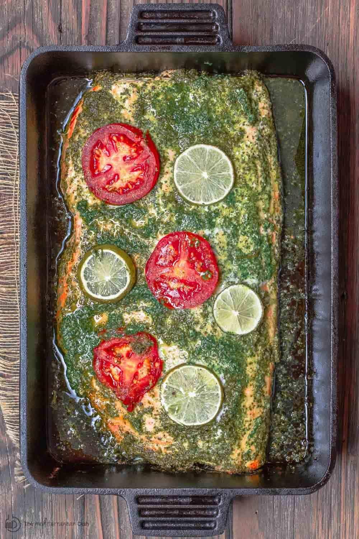 Baked Salmon Recipe with Garlic Cilantro Sauce #cilantrosauce