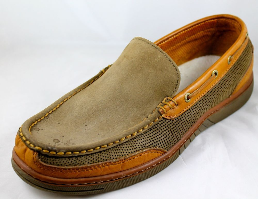 TOMMY BAHAMA 19-DK Olive Leather Boat Deck Slip On Loafers Shoes Sz 11 M