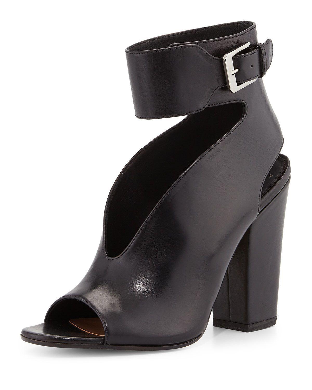 Hope Open-Toe Cutout Leather Bootie, Black