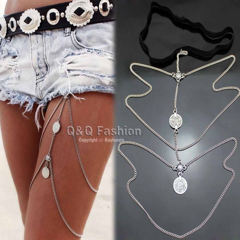 Sexy Antique Silver Gold Stretchy Bikini Thigh Leg Tassel Chains Coins Pendant Multilayer Crossover Harness Garter Body Jewelry J8jd54OEe