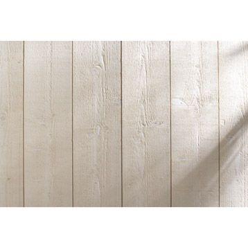 Lambris bois sapin brut de sciage blanc ARTENS, 205x13cm, ép 12mm