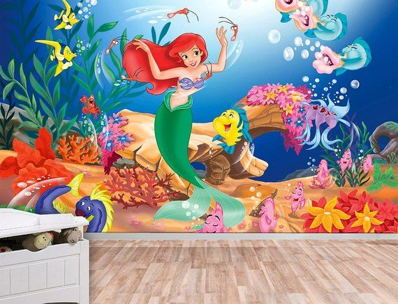 little mermaid wall mural, ariel, wallpaper, wall décor, wall decal