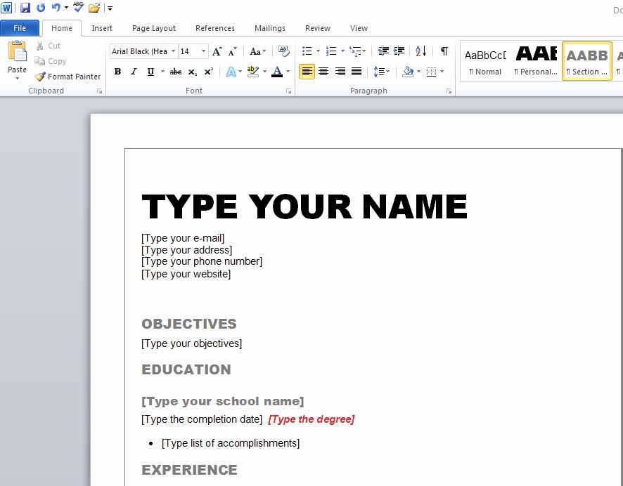 how to get a resume template on microsoft word