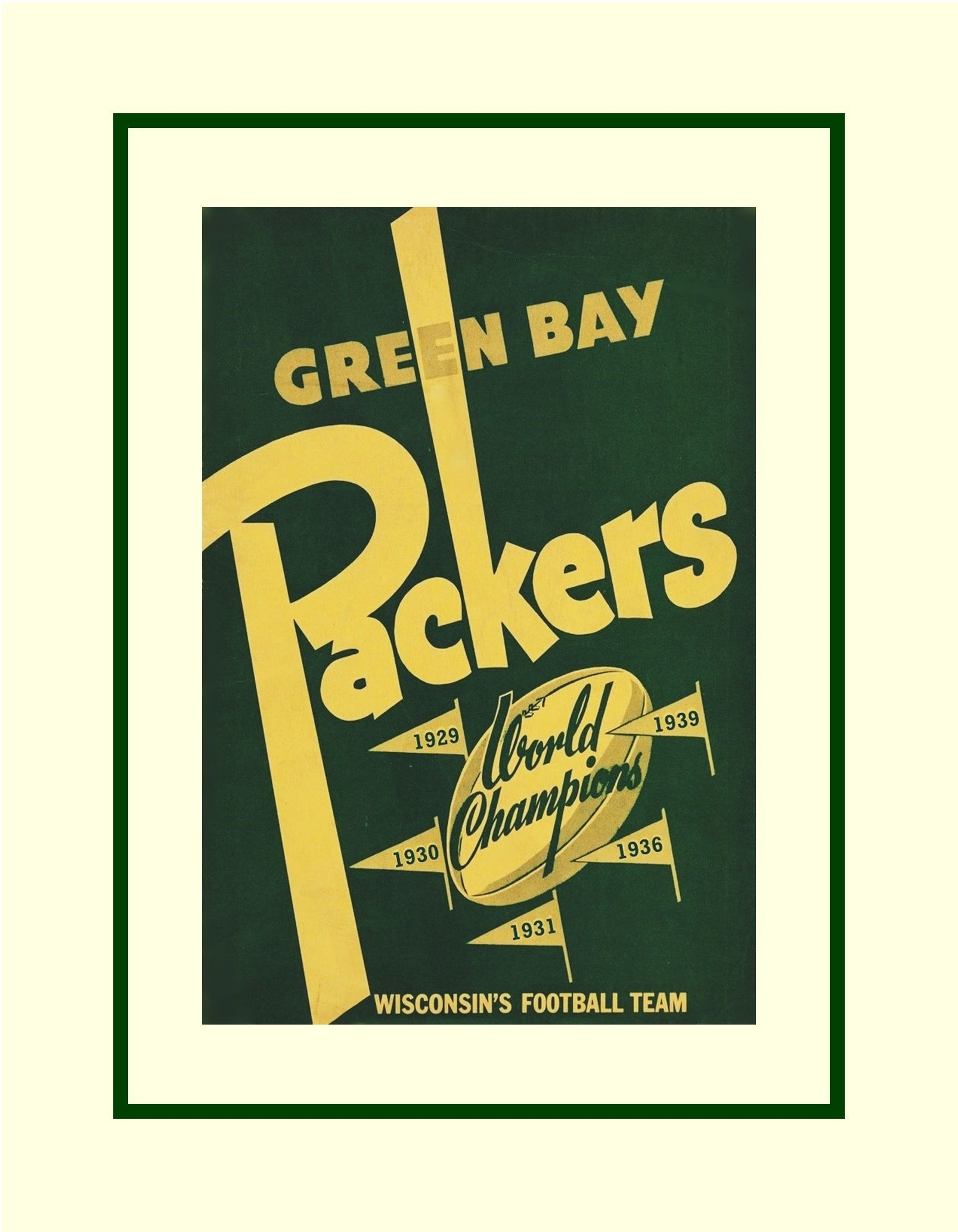 Vintage 1940s Green Bay Packers Wall Art Gift, Retro Champion ...