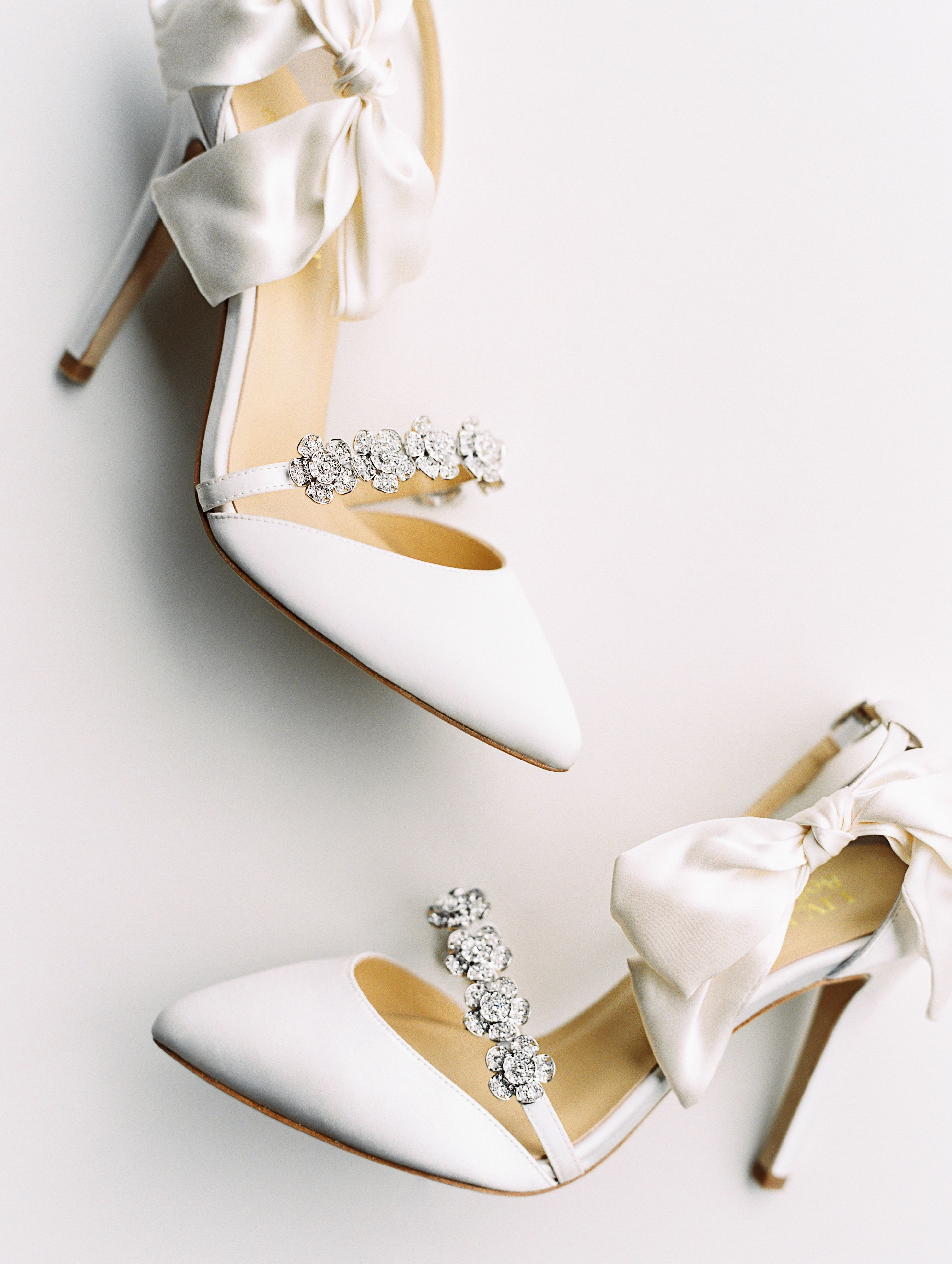 Bow And Jeweled Ivory Wedding Heel By Liv Hart In 2020 Wedding Heels Ivory Wedding Shoes Bridal Heels