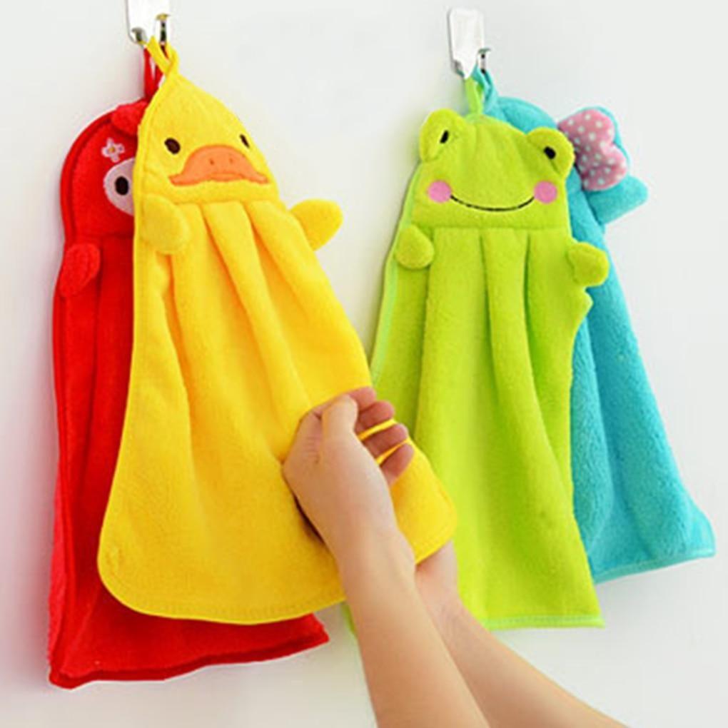 Baby Kids Hand Towel Cute Cartoon Animal Kitchen Bath Hanging Wipe Soft Towel