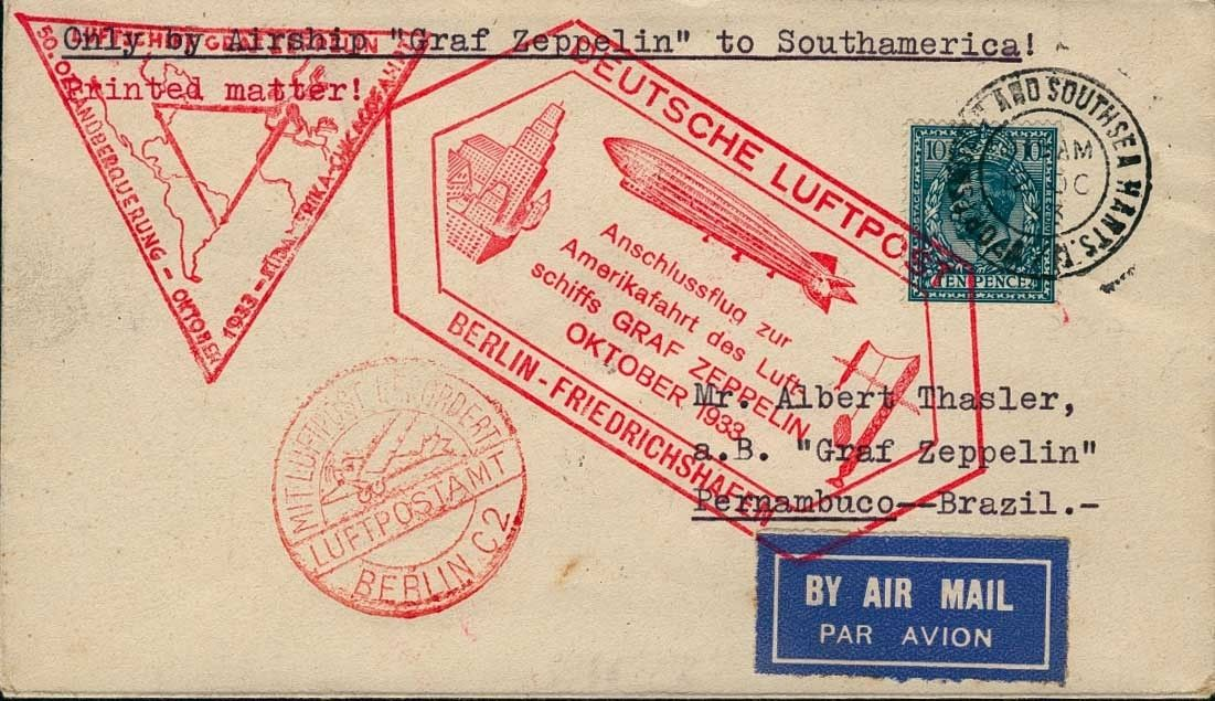 Chicago travel 1933, rear till Recife, cover from Porthsmouth 12. 10., via Berlin with airmail and connection flight, all flight stamp decoratively on face, arrival 17. 10.    Dealer  Auction house Ulrich Felzmann    Auction  Minimum Bid:  200.00 EUR
