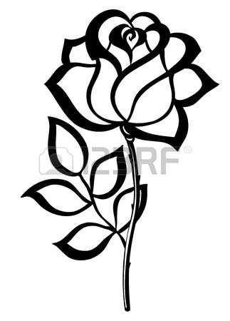 Esquema De La Silueta Negro Rosa Aislado En Blanco Muchas