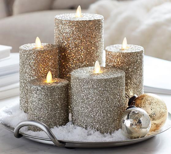 Premium Flicker Flameless German Glitter Pillar Candle Silver