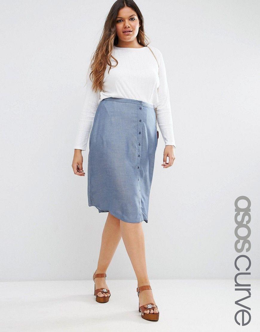 ASOS+CURVE+Button+Through+Midi+Skirt