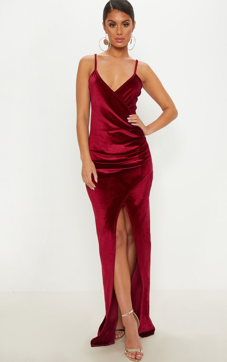 Burgundy Velvet Wrap Strappy Maxi Dress Maxi Dress Formal Women Dress Online Dresses [ 1180 x 740 Pixel ]