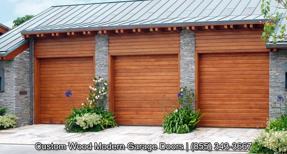 Custom made modern garage doors in horizontal slat design for European garage doors