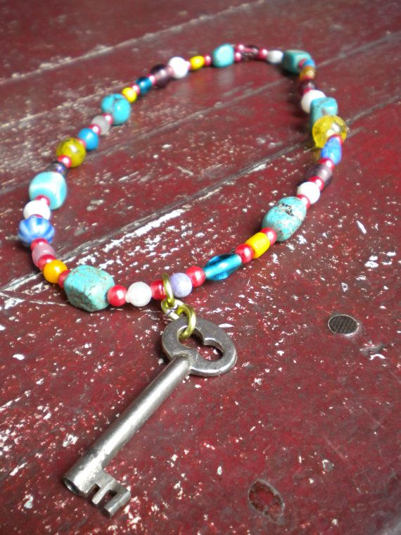 Spring Color Beads & Silver Skeleton Key by 42Red on Etsy, $16.00