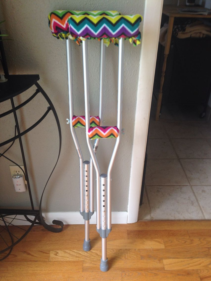 Crutch Covers Diy Tie Like A No Sew Blanket And Use No Sew Tape For Cleanly Closed Edges And Hand Grips Crutch Covers Diy Crutches Diy Crutch Covers
