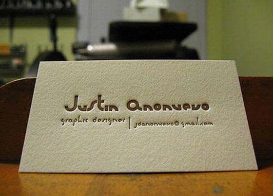 Elegant letterpress business card from justin anonuevo business elegant letterpress business card from justin anonuevo reheart Images
