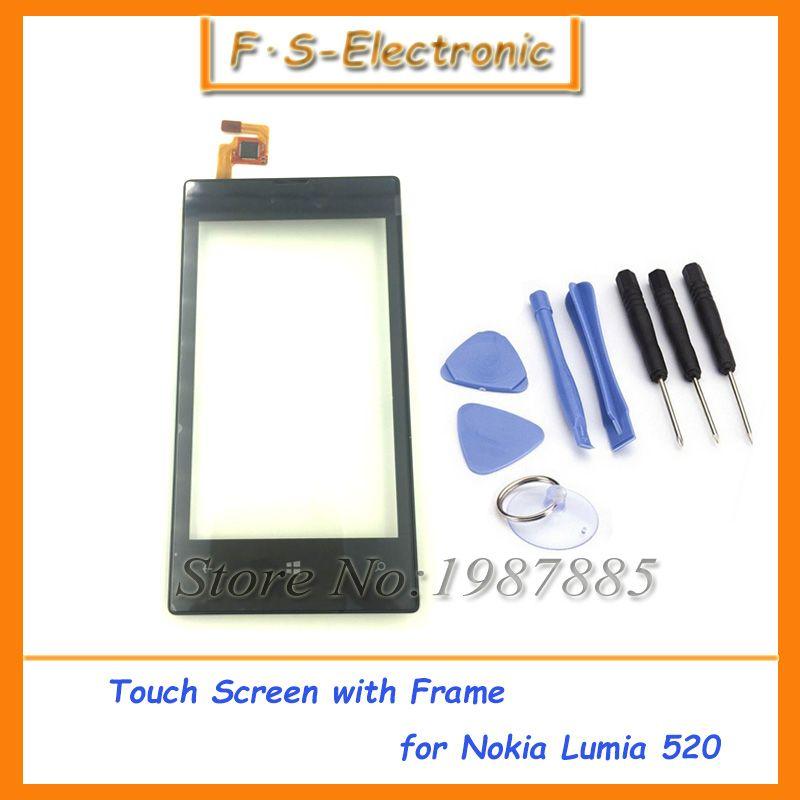 フロントパネルのタッチスクリーンデジタイザのためのnokia Lumia 520 430 435 532 503 530 Lcdディスプレイの交換タッチスクリーン付きフレーム Scherm