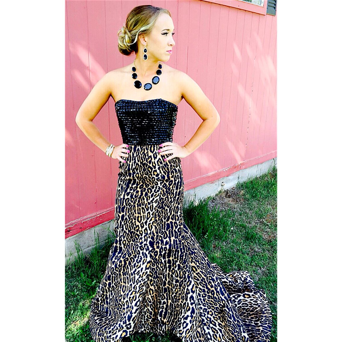 Cheetah Pink Prom Dress Ball Gown