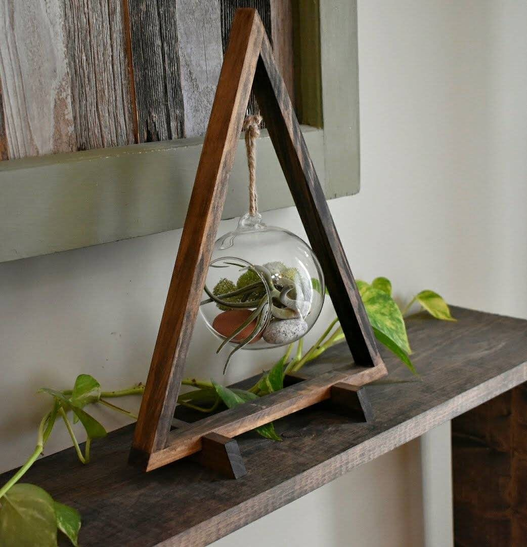 Wood Triangle Large Dark Stain By Knotperfectdesignsco On Etsy