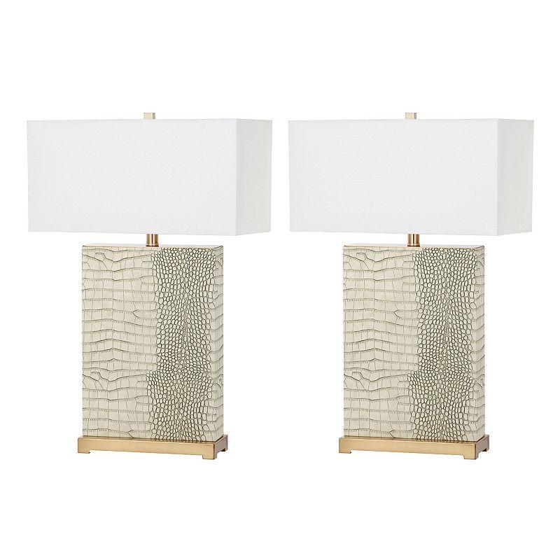 Safavieh Joyce Faux Alligator Table Lamp 2 Piece Set In 2021 Table Lamp Sets Lamp Sets Lamp