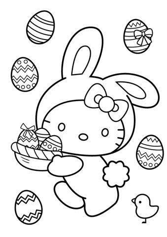 Hello Kitty Easter Bunny Coloring Page Bunny Coloring Pages Hello Kitty Colouring Pages Hello Kitty Coloring
