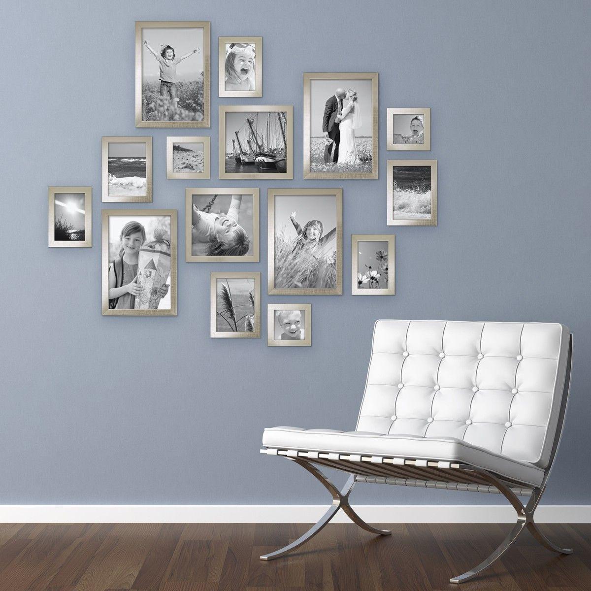 15er Set Bilderrahmen Modern Silber Massivholz 10x15 Bis 20x30 Cm Inklusive  Zubehör Zur Gestaltung Einer Collage Amazing Pictures