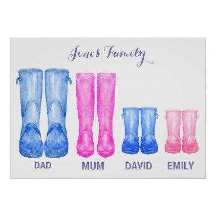 Watercolor Wellies My Family Rubber Boots Poster Zazzle Com In