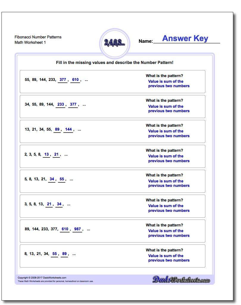 Fibonacci Number Patterns Worksheet Number Patterns Worksheet