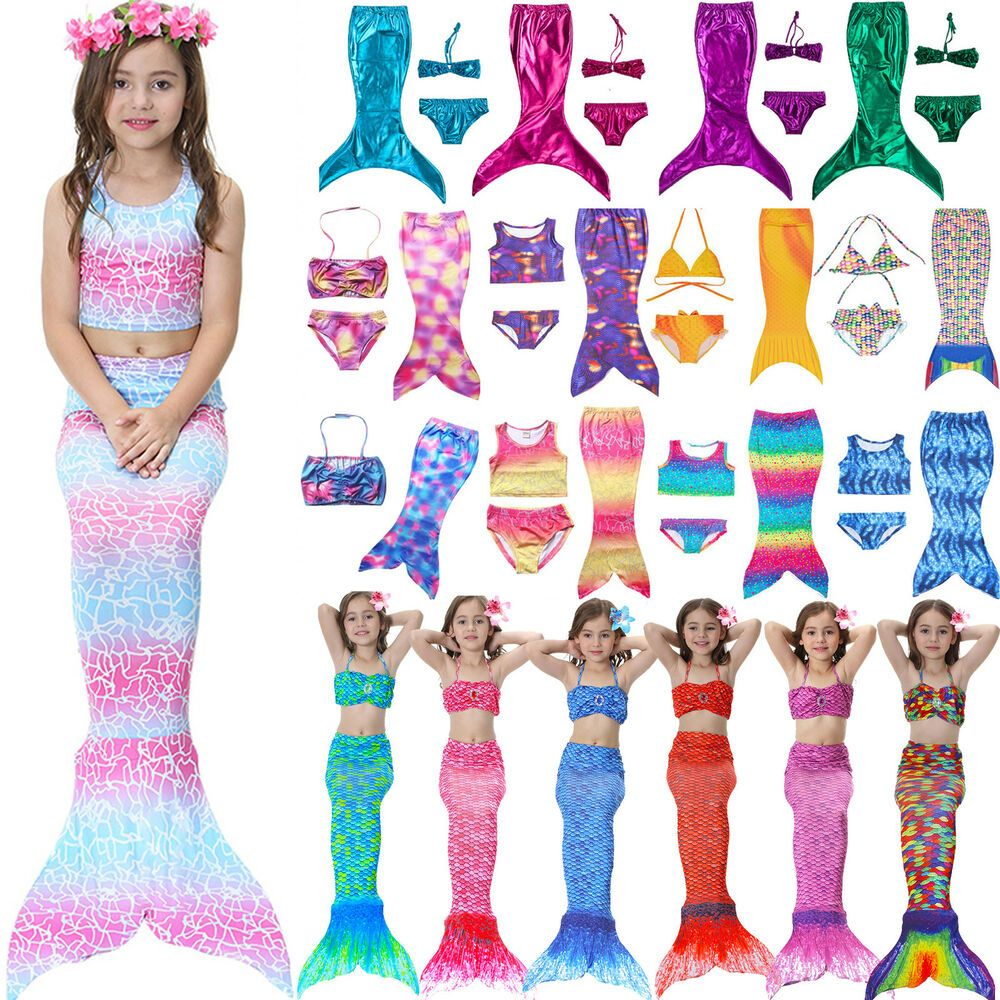 Kids Girl Swimmable Mermaid Tail Sea-maid Bikini Swimwear Swimming Fancy Costume