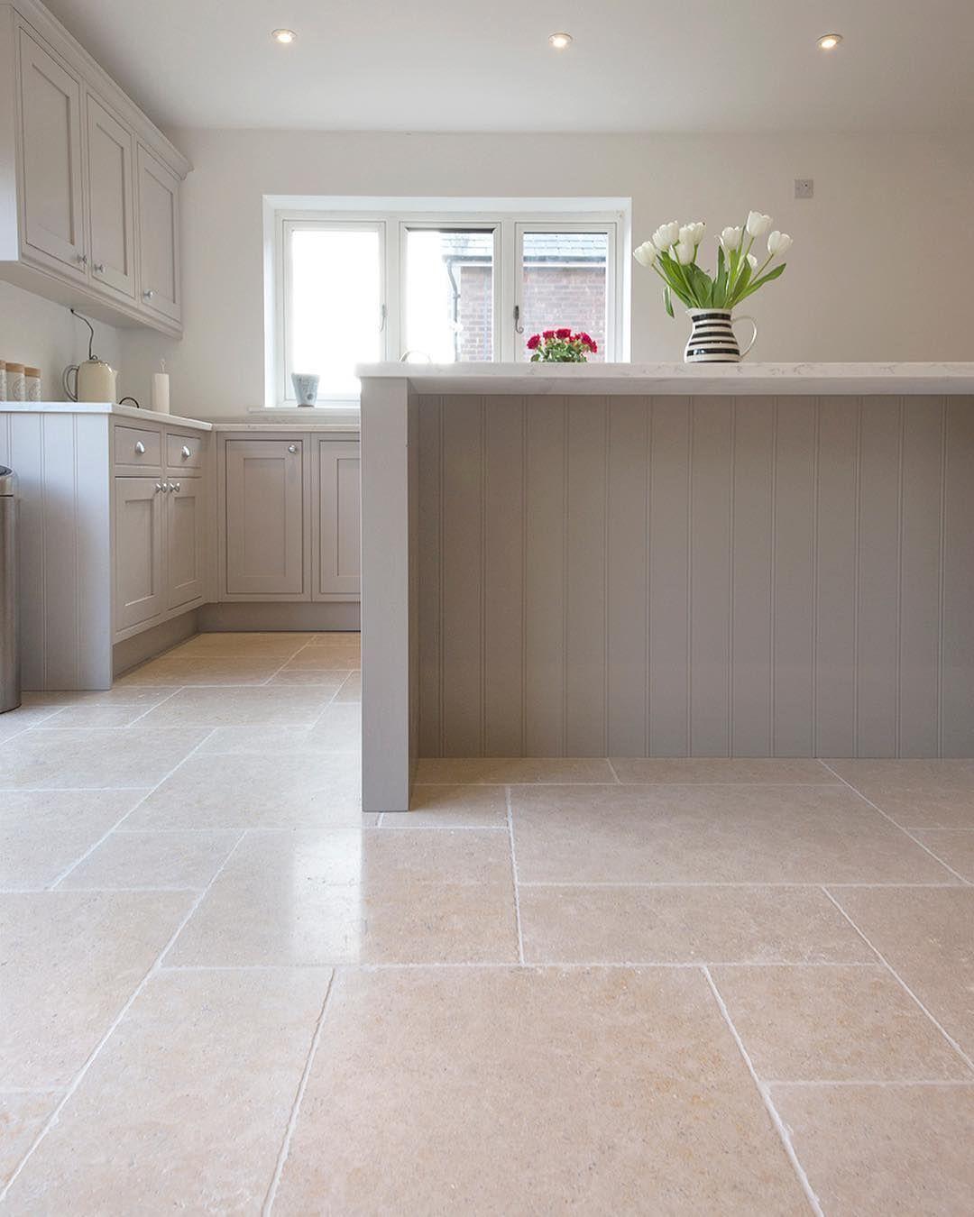 Quorn Stone Mystonefloor On Instagram Our Dijon Tumbled Limestone Tiles In A Large Pattern We Really Lo Kitchen Floor Tile House Flooring Kitchen Flooring