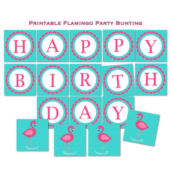 Flamingo Birthday Happy Birthday Banner by TracyAnnPrintables