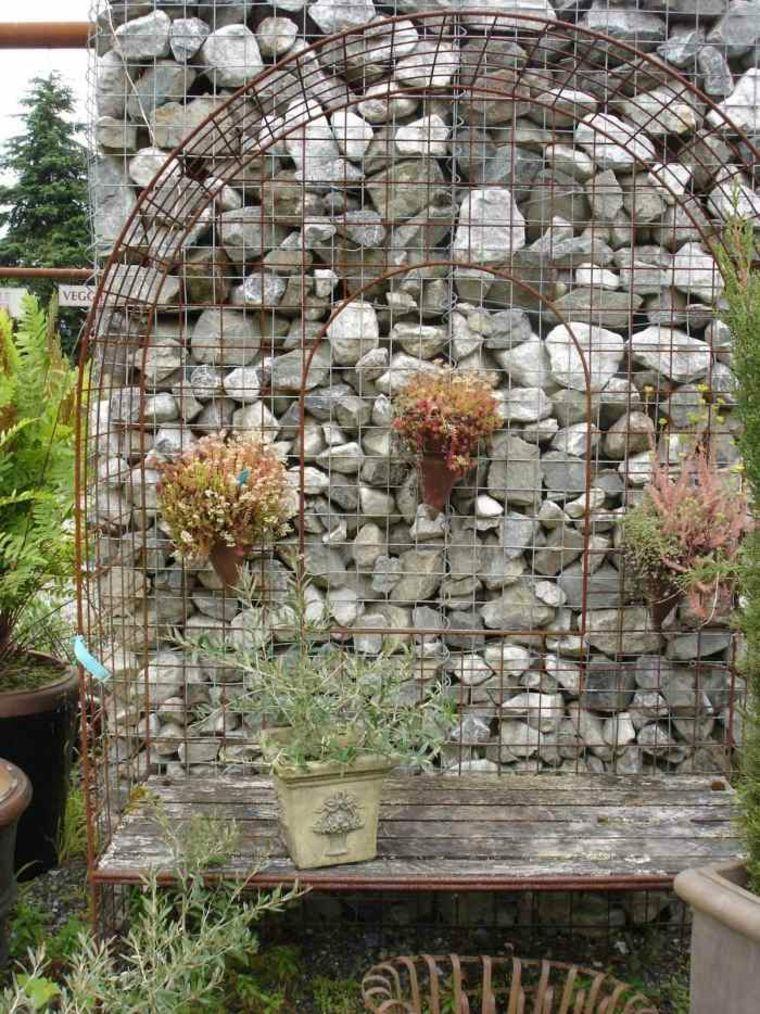 Gaviones decorativos para patios y jardines - 34 ideas -