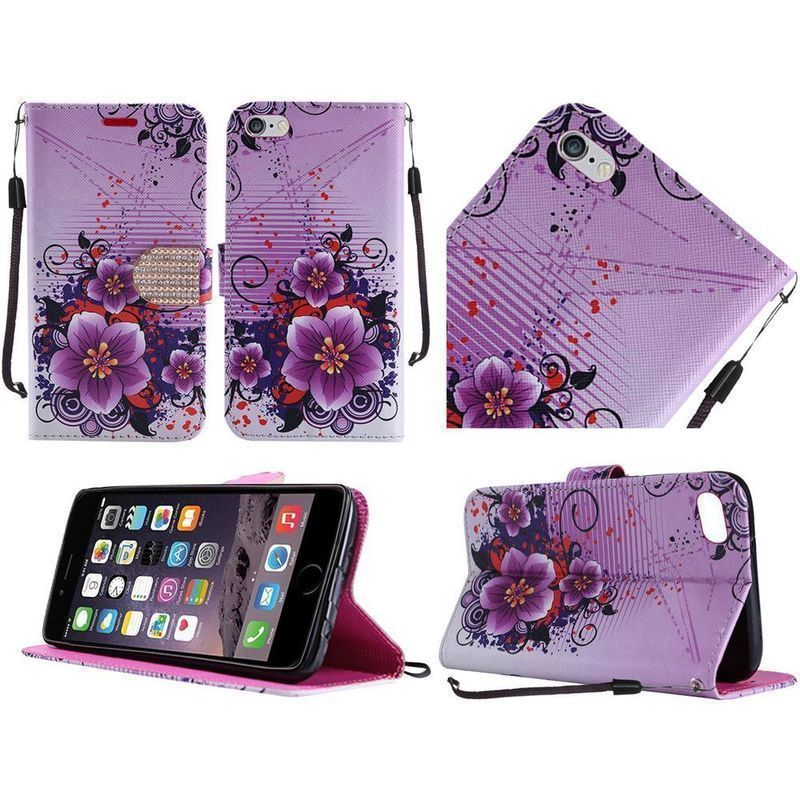 2a29ed29a644f0 Insten Purple  White Flowers Leather Case Cover Lanyard with Stand  Diamond  For Apple iPhone