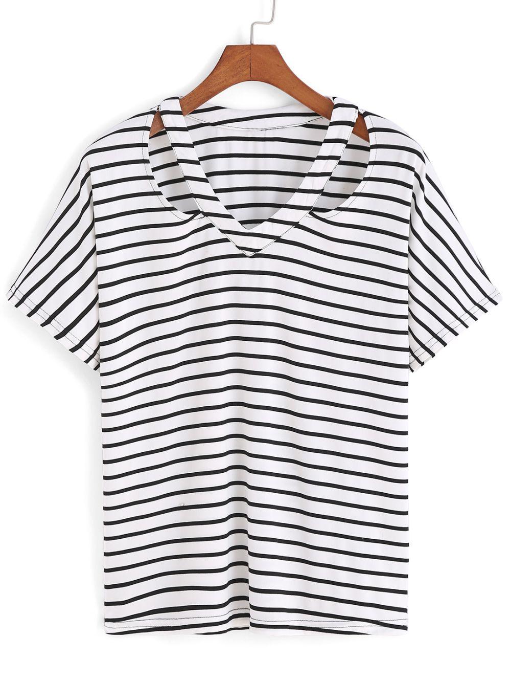 Romwe V Neck Striped Hollow T-shirt