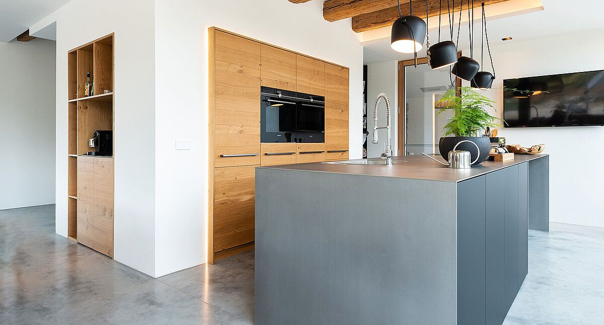 graue küche | küche mit insel, moderne küche und küche