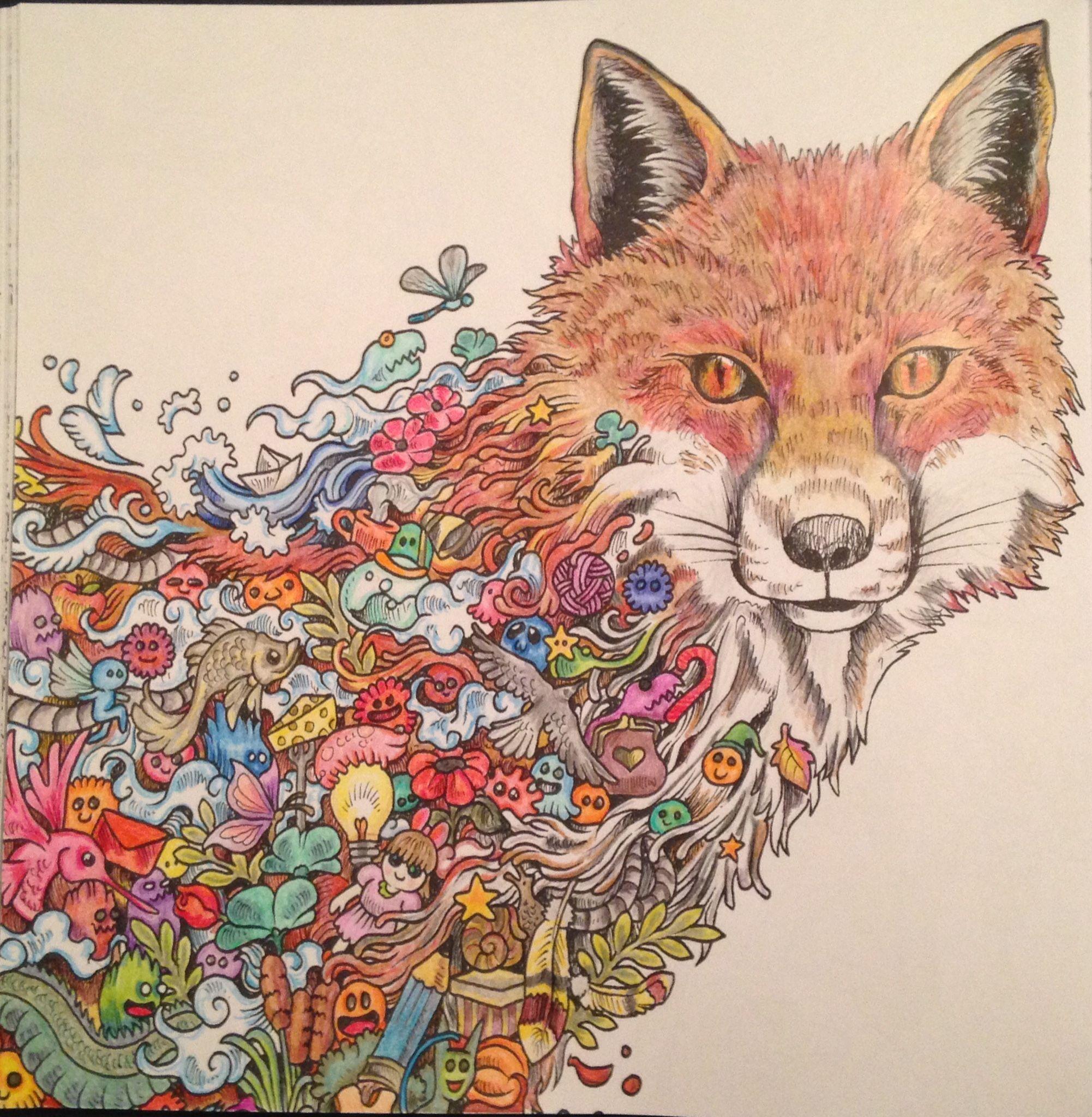 Fox From Animorphia Coloured Using Marco Raffine Pencils