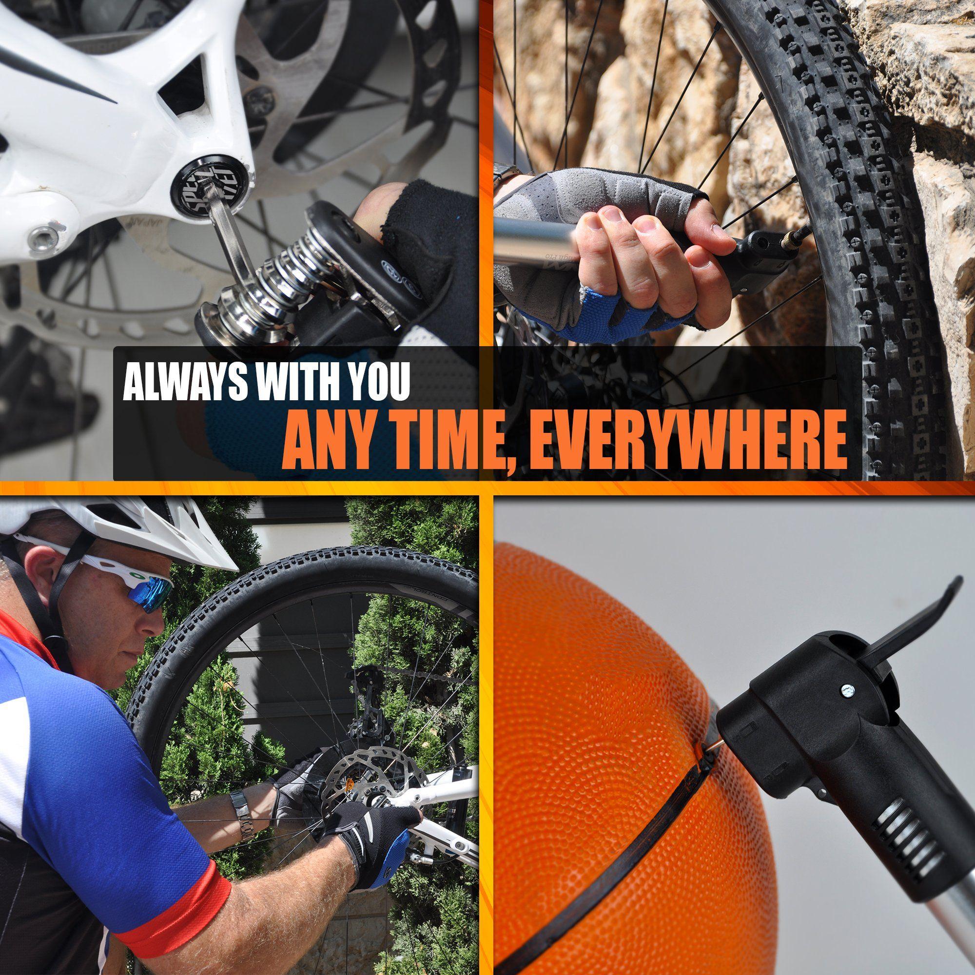 Aim High Pro Portable Frame Mount Mini Bike Pump Fits Presta And