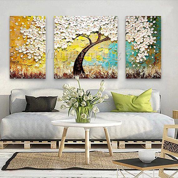 3 pieza mano pintado pintura al leo lienzo esp tula 3d - Lienzos decorativos ...