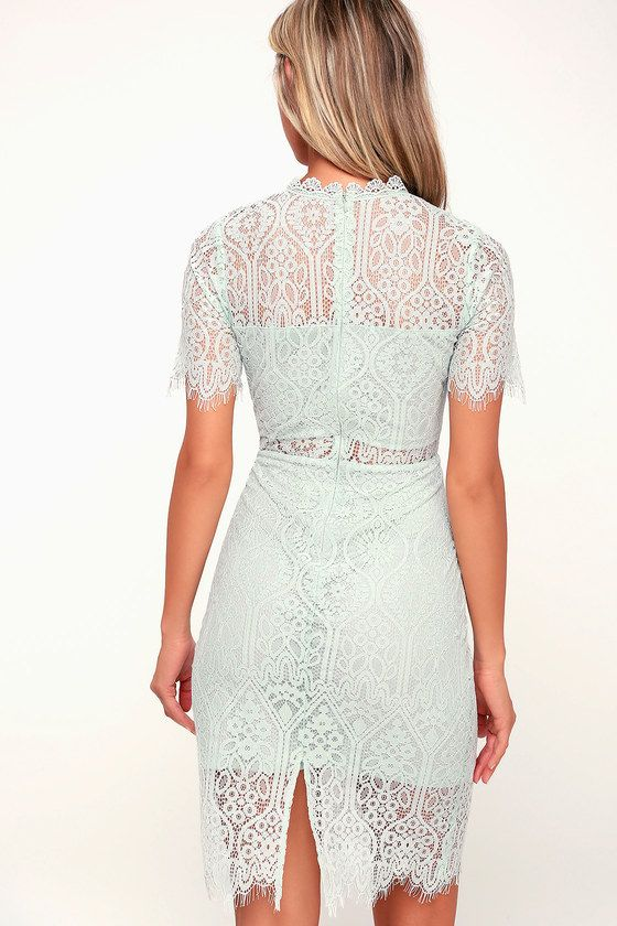 63e3588d1135 Lulus | Remarkable Light Mint Blue Lace Dress | Size X-Small | 100%  Polyester