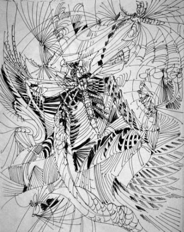 "Saatchi Art Artist Mikhail Dontsov; Drawing, ""Dragonfly Jungle"" #art"