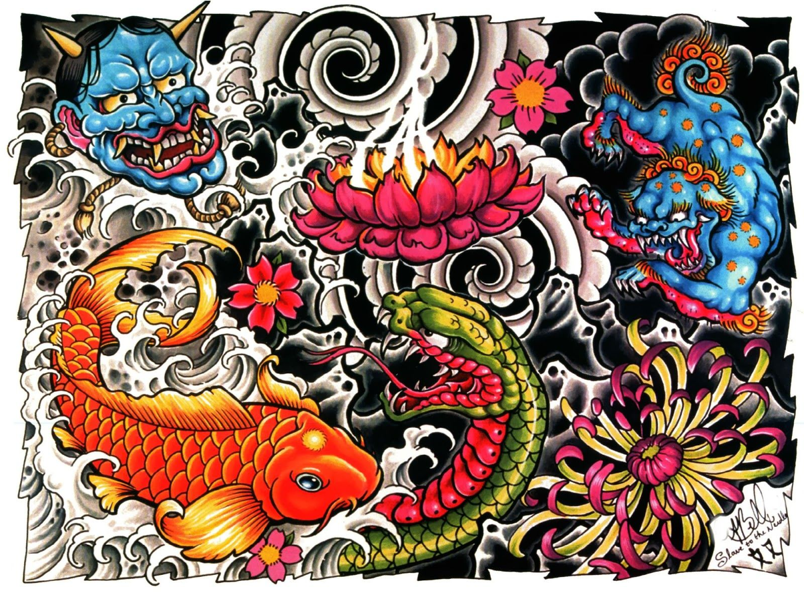 Incredible Tattoo Wallpapers Desenho de carpas, Yakuza