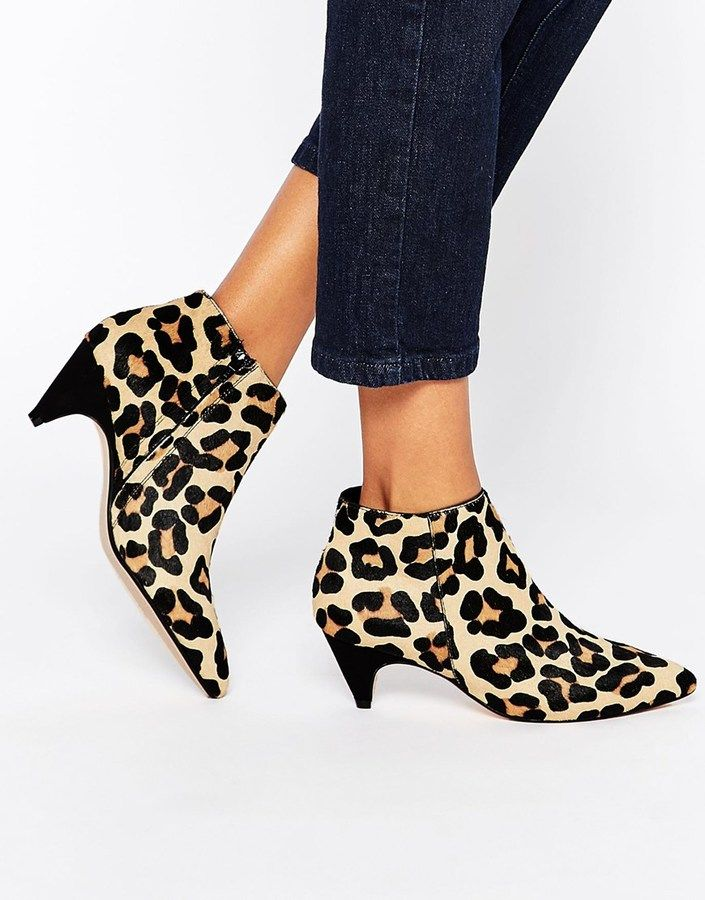 b31b27a75942 Dune Ophelia Animal Print Pony Effect Mid Heel Ankle Boots