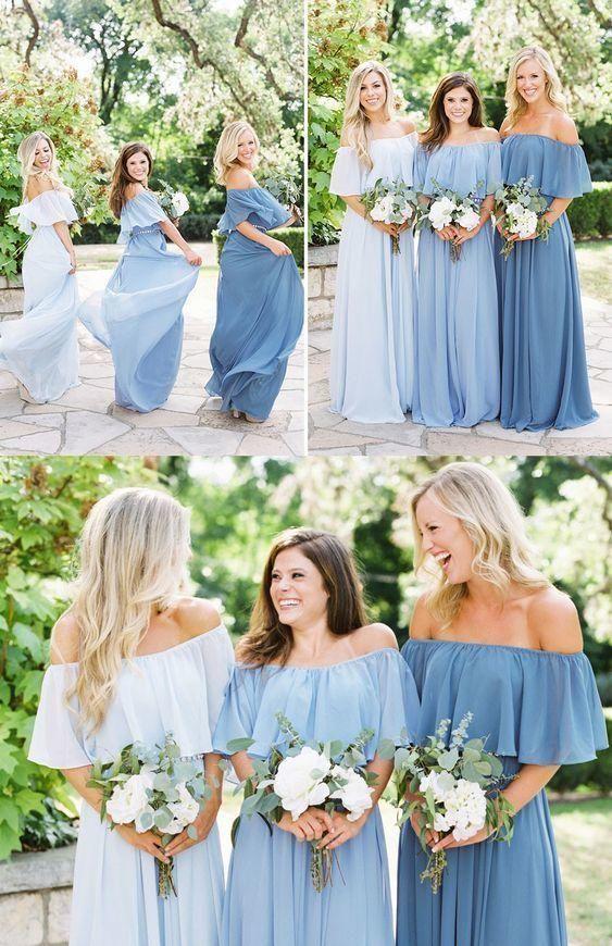 A-Line Off the Shoulder Floor-Length Light Blue Bridesmaid Dress